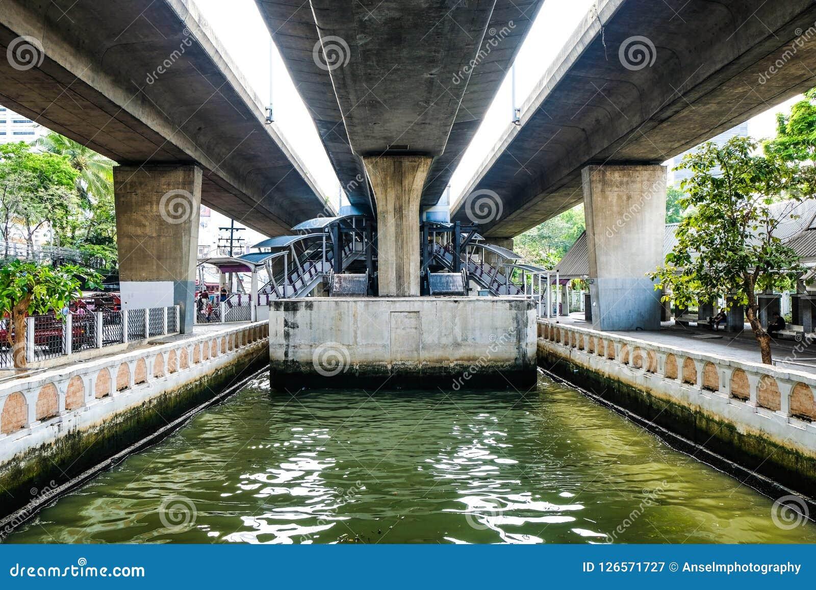 Debajo de la carretera del puente del cielo en la manera al Sathorn Pier Ferry Terminal Downtown Bangkok central Tailandia