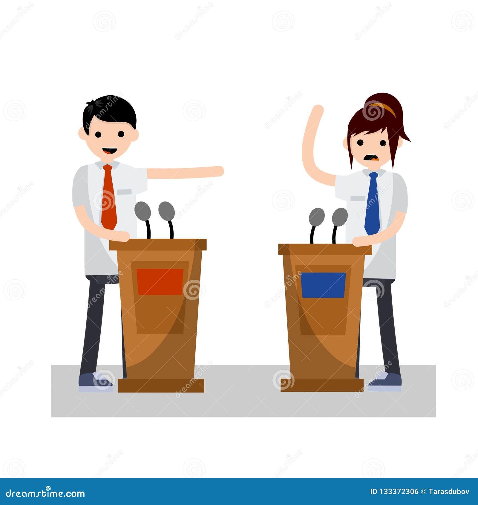 Debate presidencial Ilustração lisa dos desenhos animados
