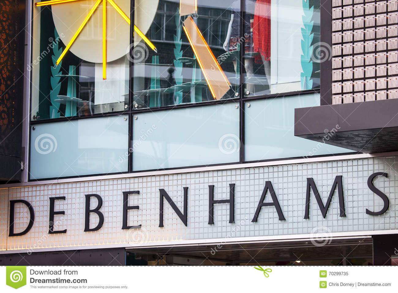 79e71cbb8bd13 LONDON, UK - APRIL 7TH 2016: The logo on the exterior of the Debenhams  department store on Oxford Street in central London, on 7th April 2016.