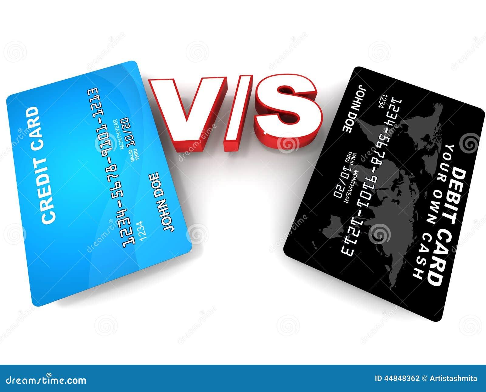 Debit versus credit card stock illustration image of finances 44848362 - Shopping cash card paying spending ...