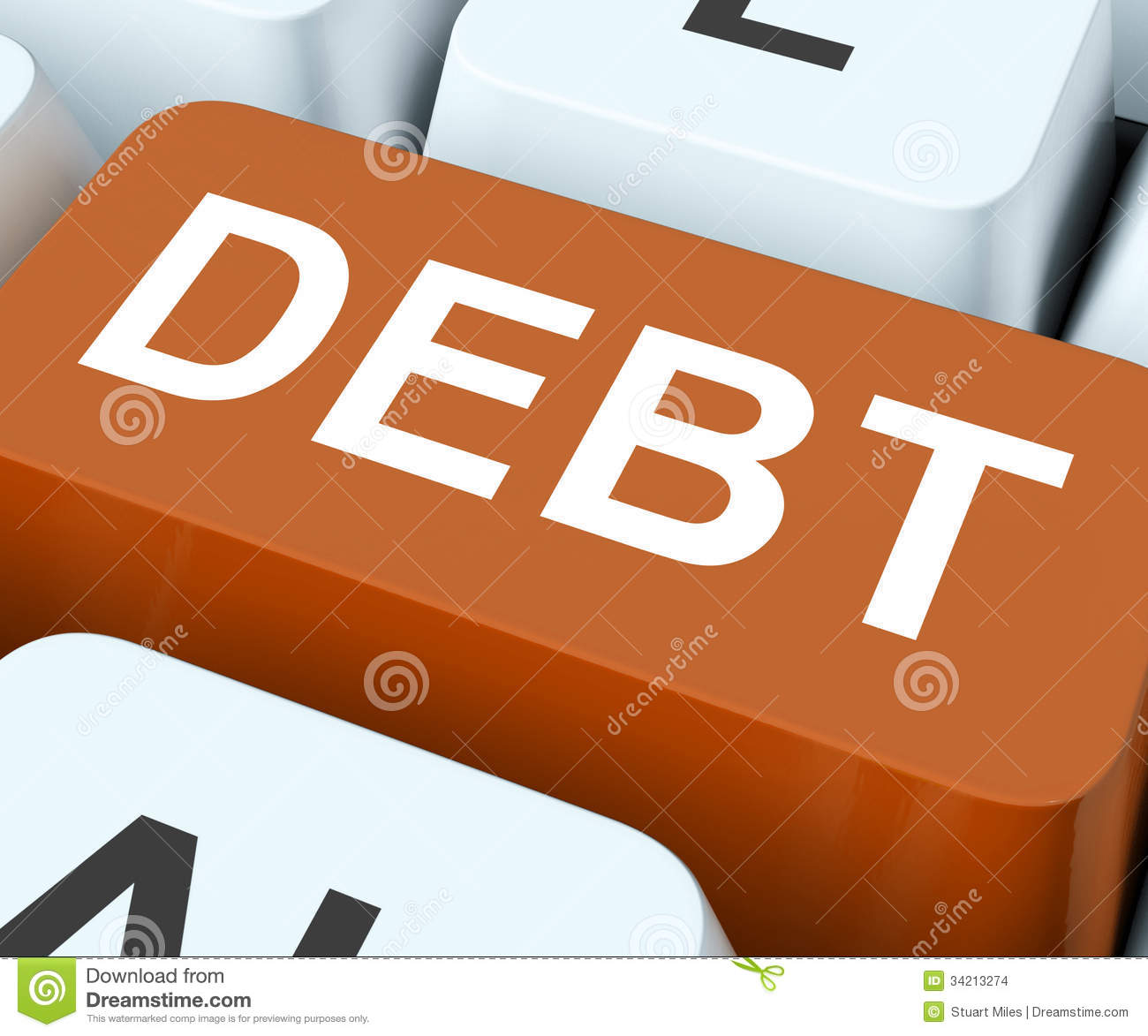 Debt Key Show Indebtedness Or Liabilities Stock Images - Image ...