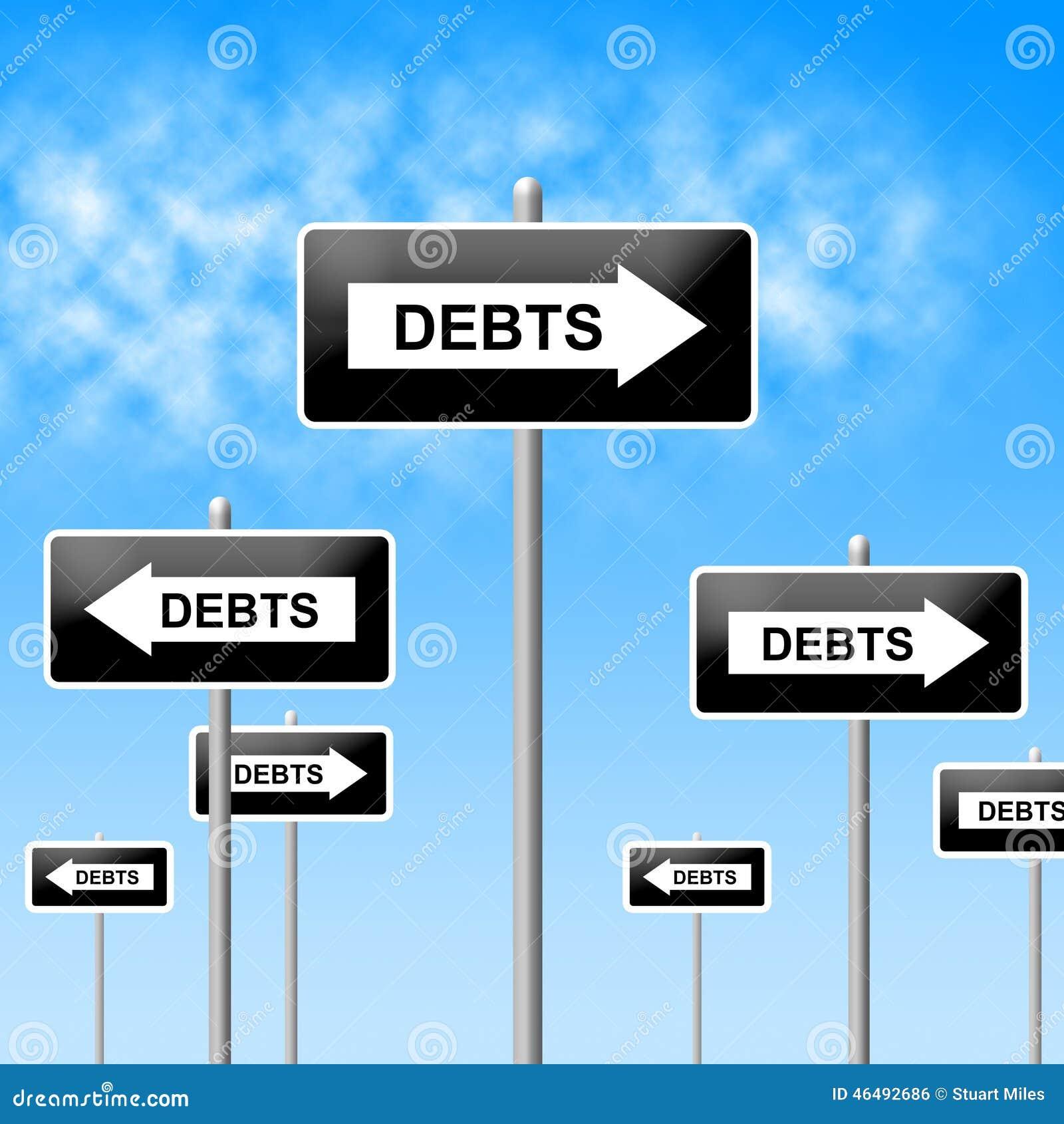 Finance Sign: Debts Sign Shows Financial Obligation And Finance Stock