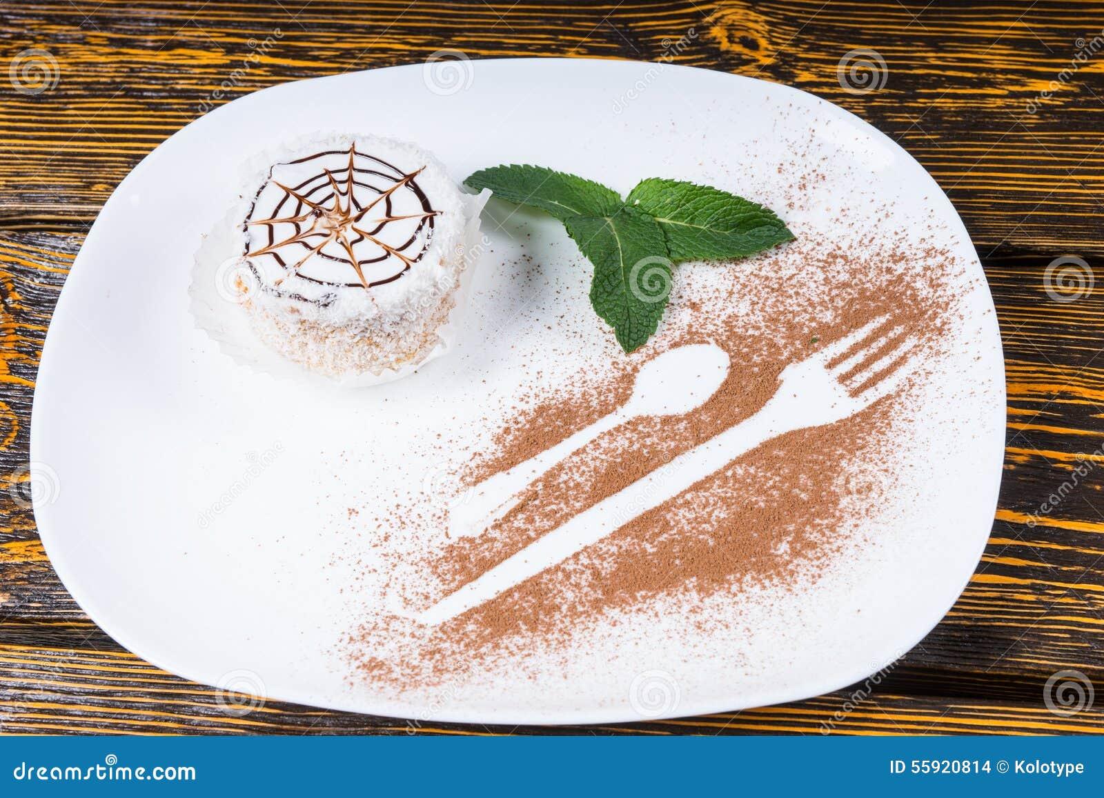 Decadent Individual Dessert With Spider Web Design Stock