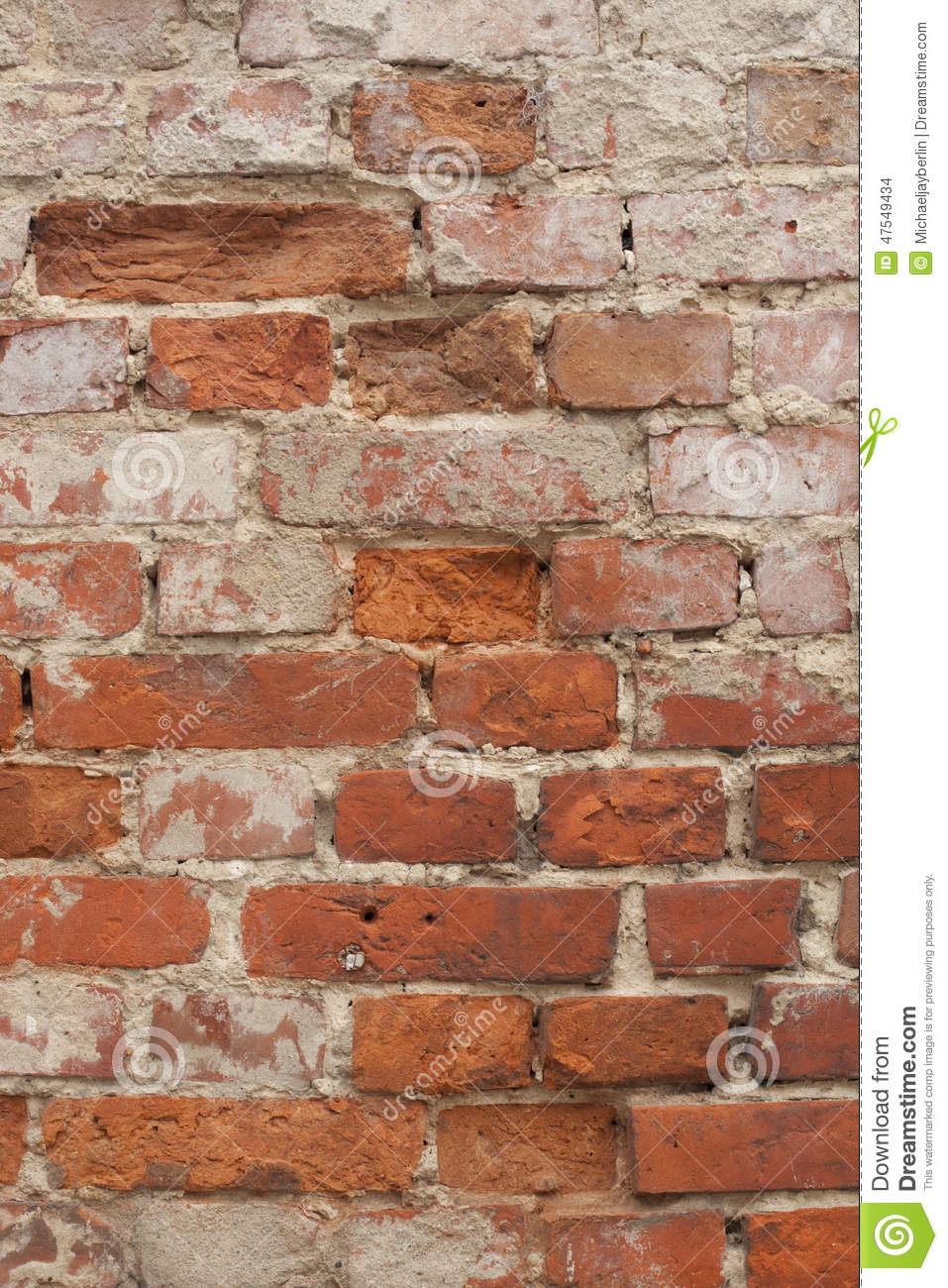 Decaying Old Brick And Mortar Wall Stock Photo - Image: 47549434