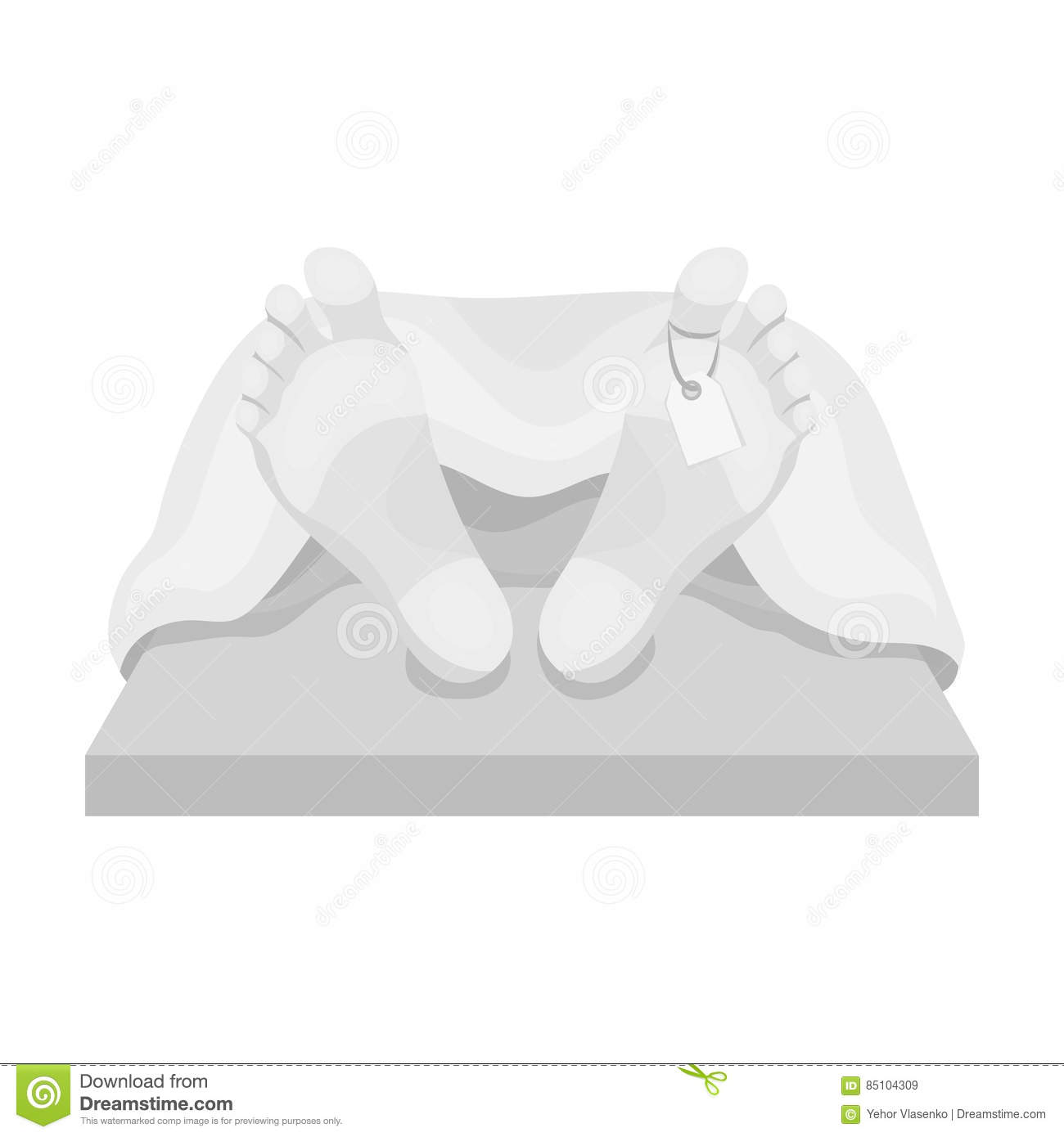 Deceased with tag icon in monochrome style isolated on white background. Funeral ceremony symbol stock vector
