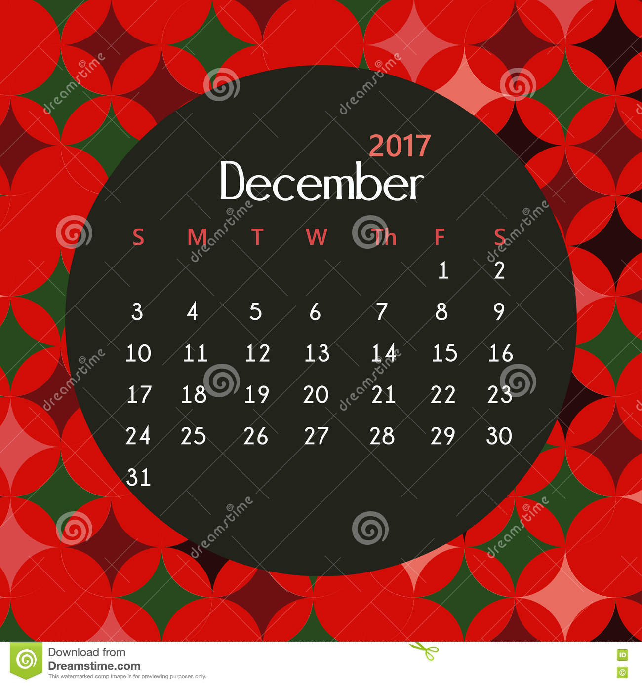 2017 December Calendar Design With Geometric Background ...