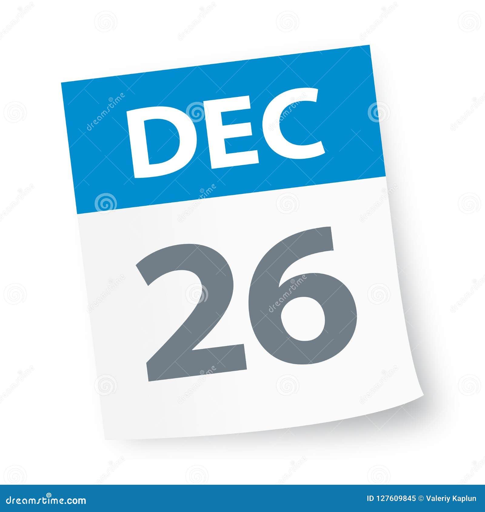 December 26 2019 Calendar December 26   Calendar Icon Stock Illustration   Illustration of