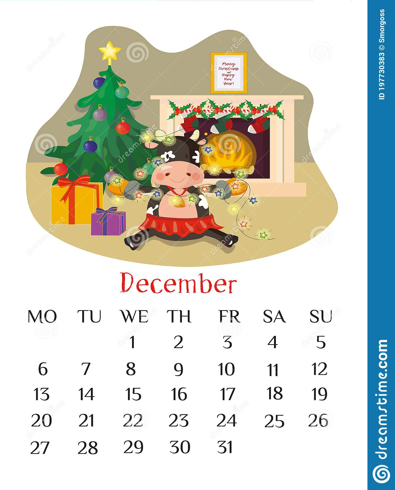 Calendar Christmas Winter December 2021 December Calendar Page 2021 With Bull Decorating Christmas Tree With Lights Indoor Winter Scene Stock Vector Illustration Of Collection Print 197730383