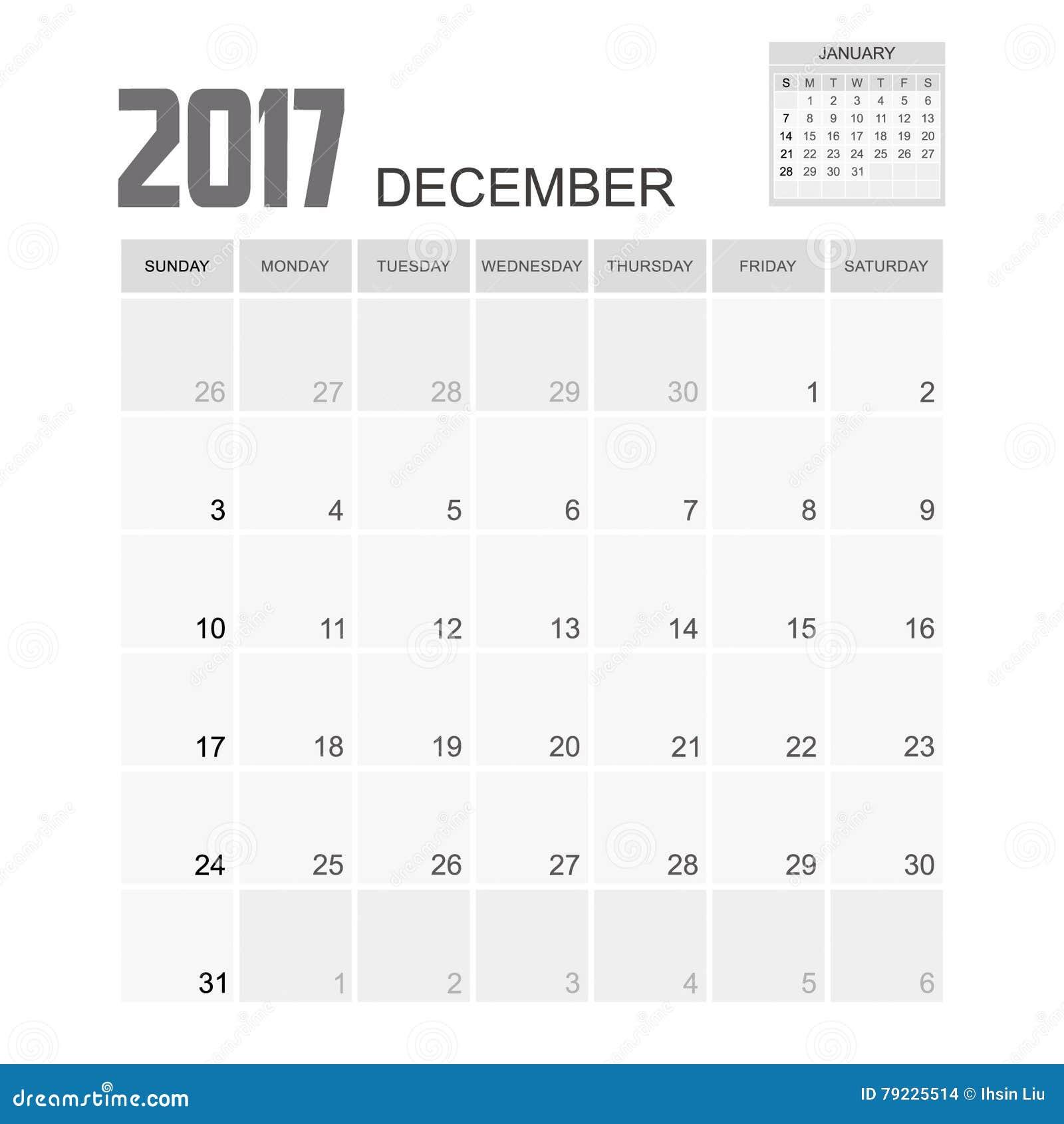 Calendar Design Illustrator : December planner design vector illustration