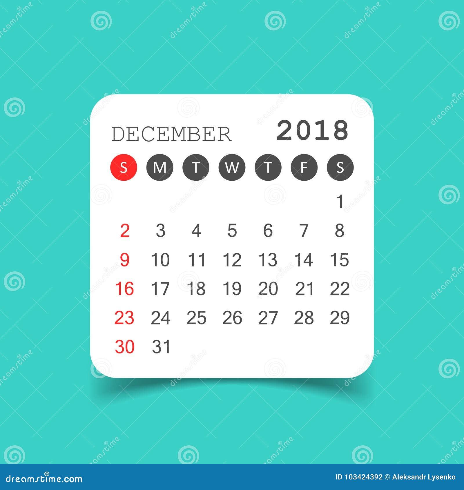 December 2018 calendar. Calendar sticker design template. Week s