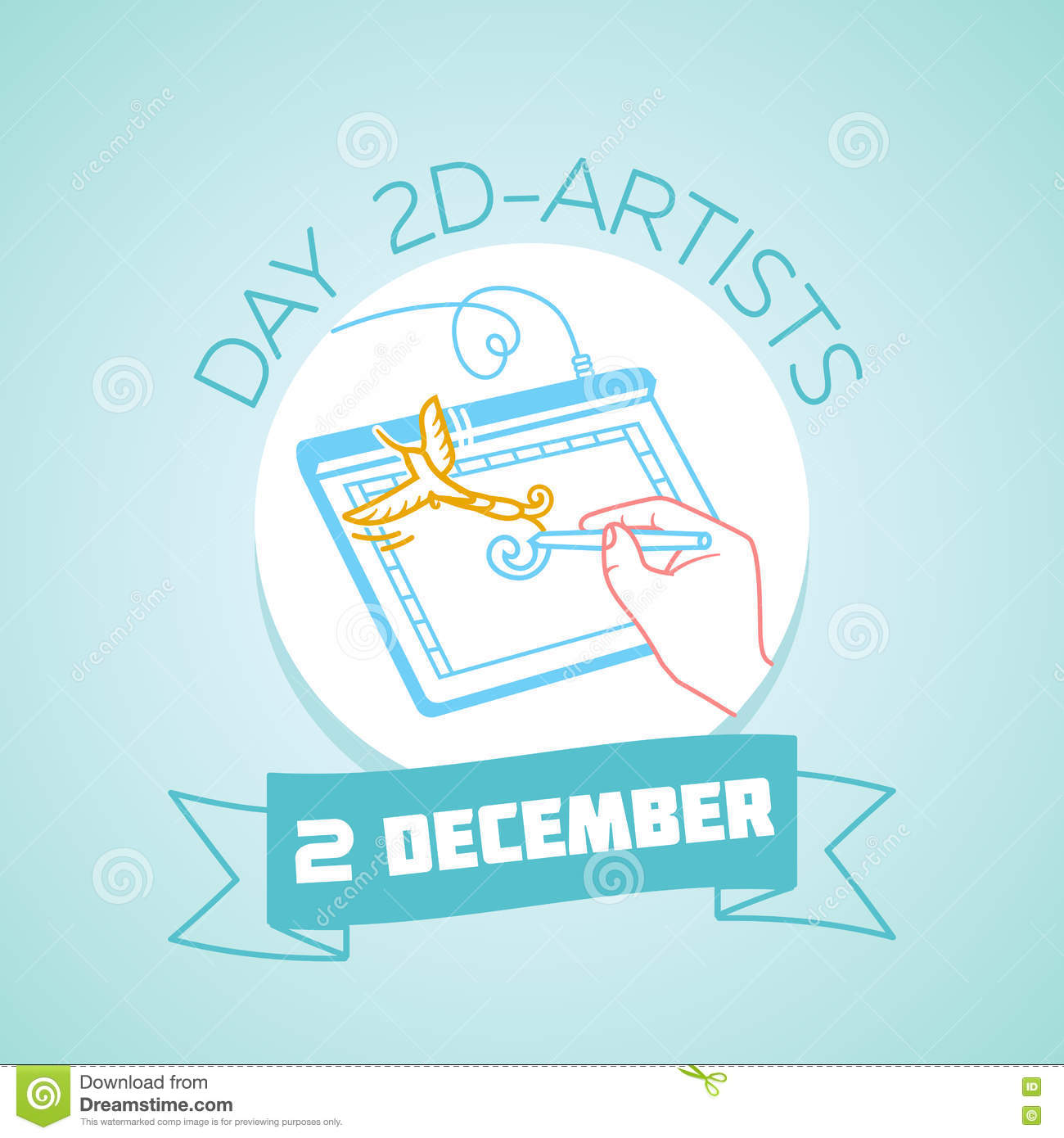 December Calendar Art : December day d artists stock illustration illustration of