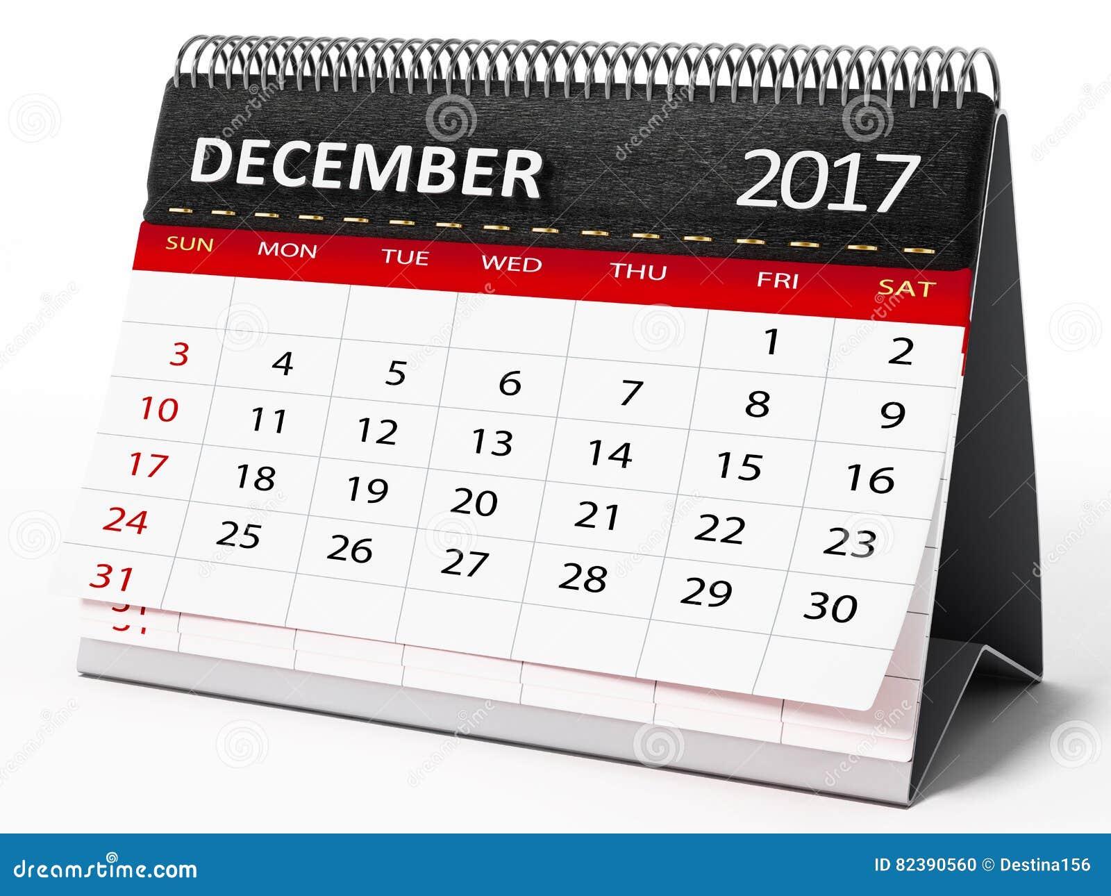 December 2017 desktop calendar. 3D illustration