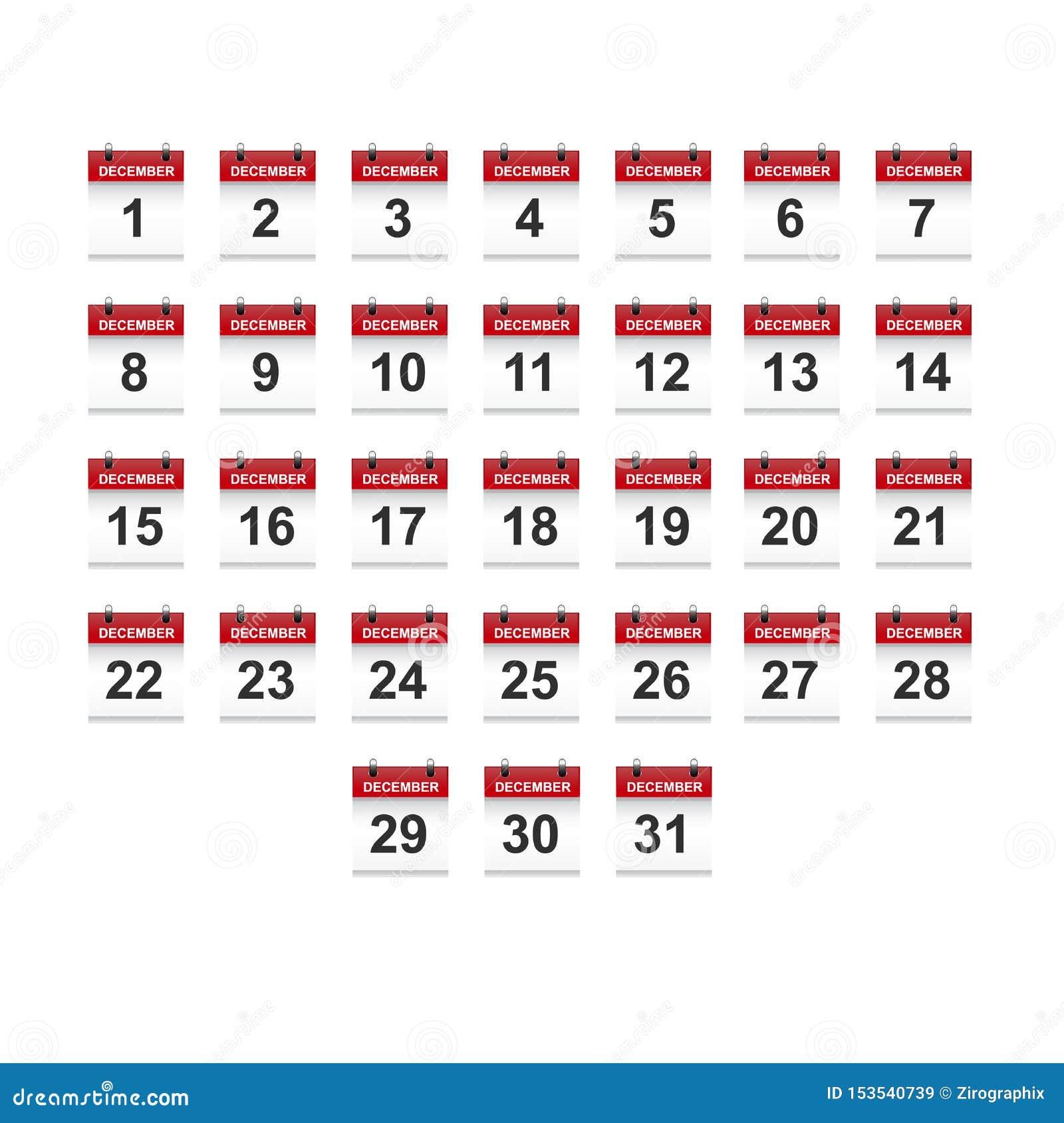December-het vectorart. van de kalender 1-31 illustratie