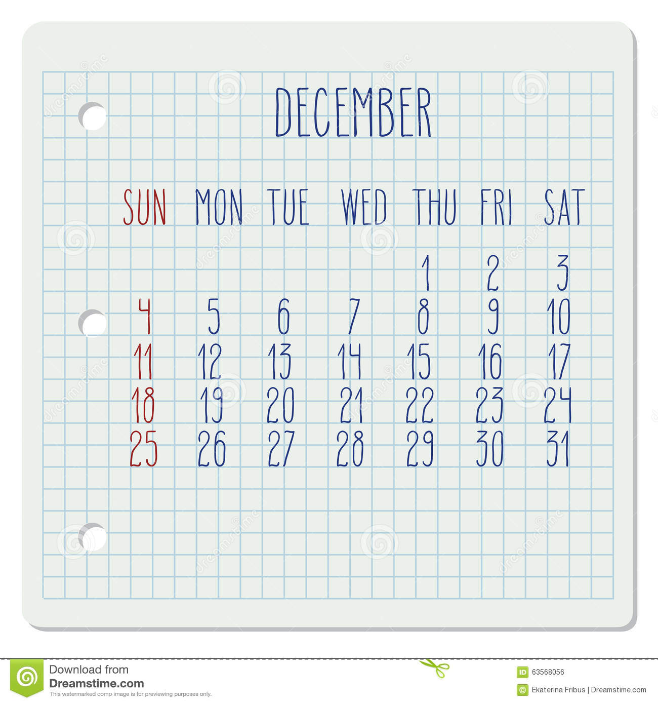 Weekly Calendar Vector : December monthly calendar stock vector illustration