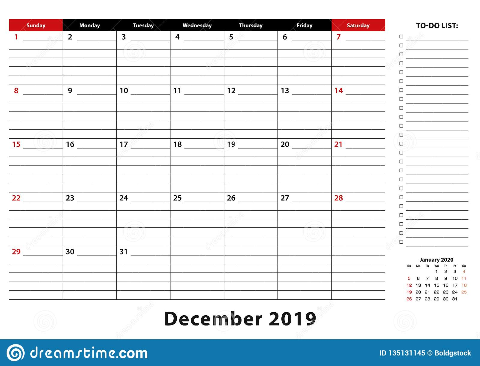 December 2019 Monthly Desk Pad Calendar Week Starts From Sunday