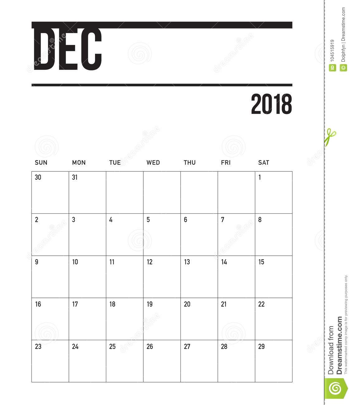 December 2018 Planner Calendar Vector Illustration Stock
