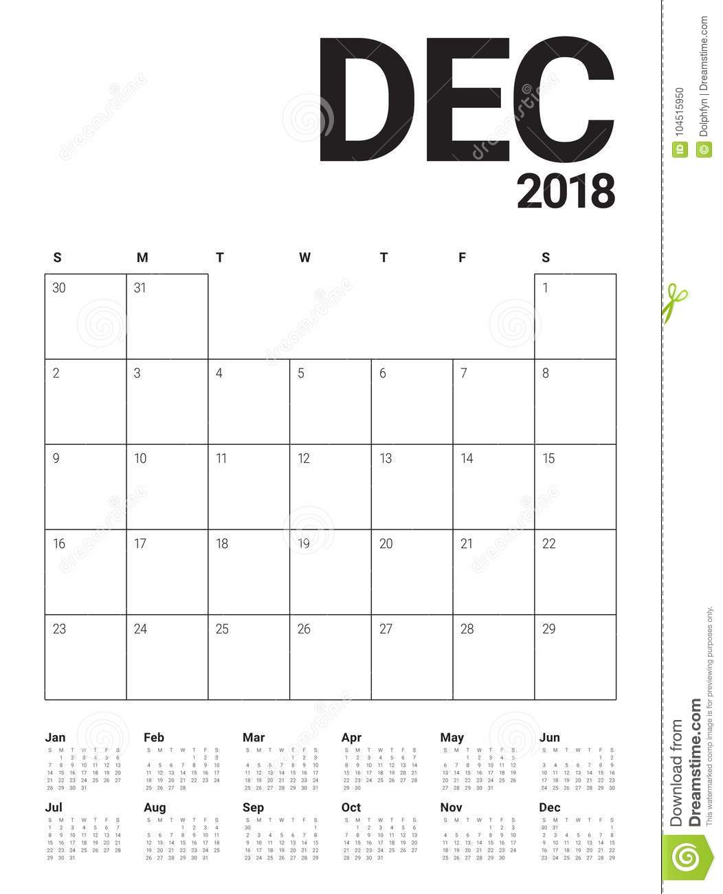 December 2018 planner calendar vector illustration
