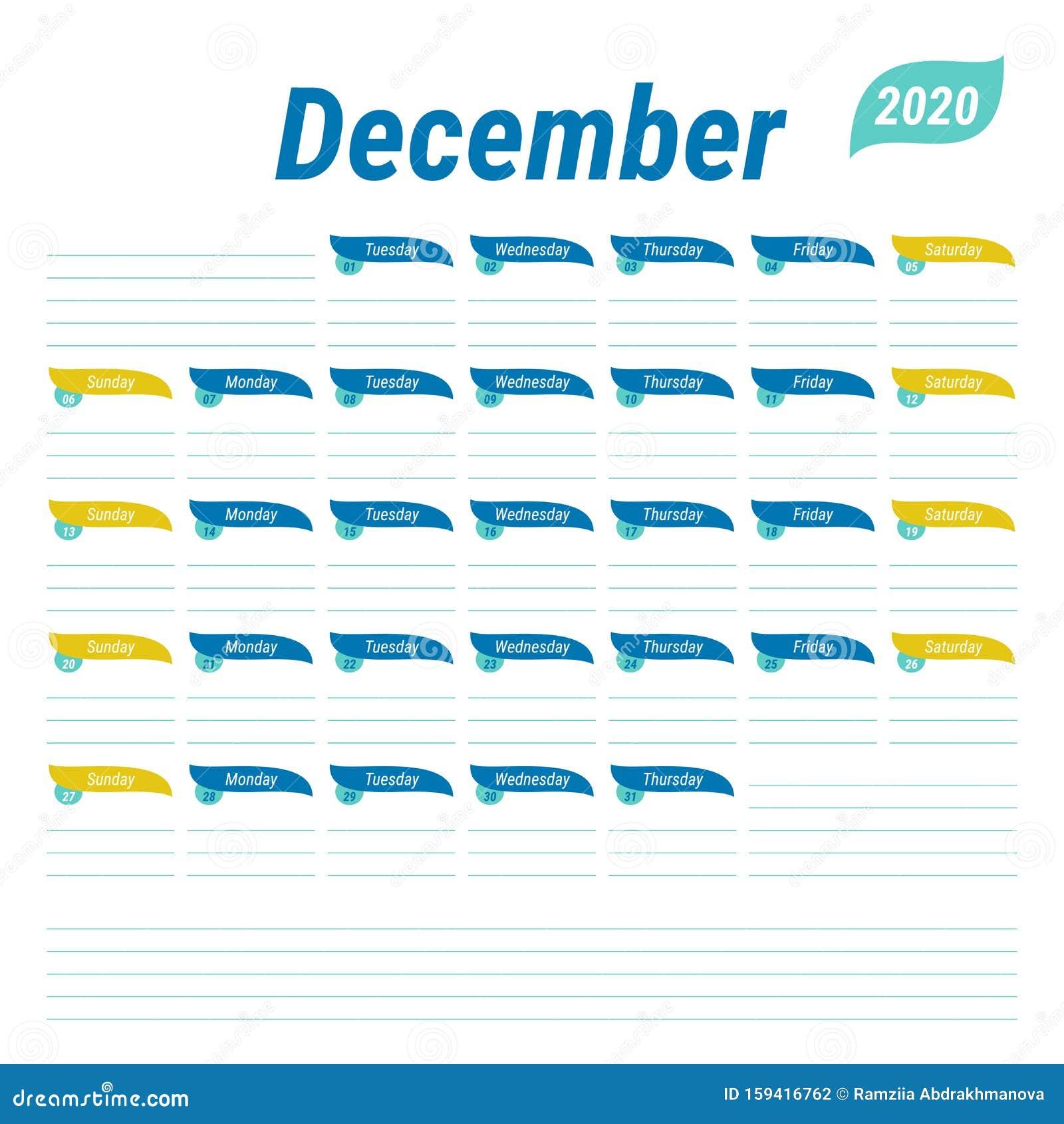 December 2020 Planner. English Calendar. Schedule Design ...