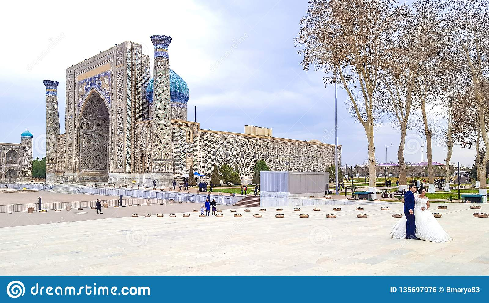 December 2018, Uzbekistan, Samarkand, Registan Square, Madrasa Sherdor `Resident of the Lions`