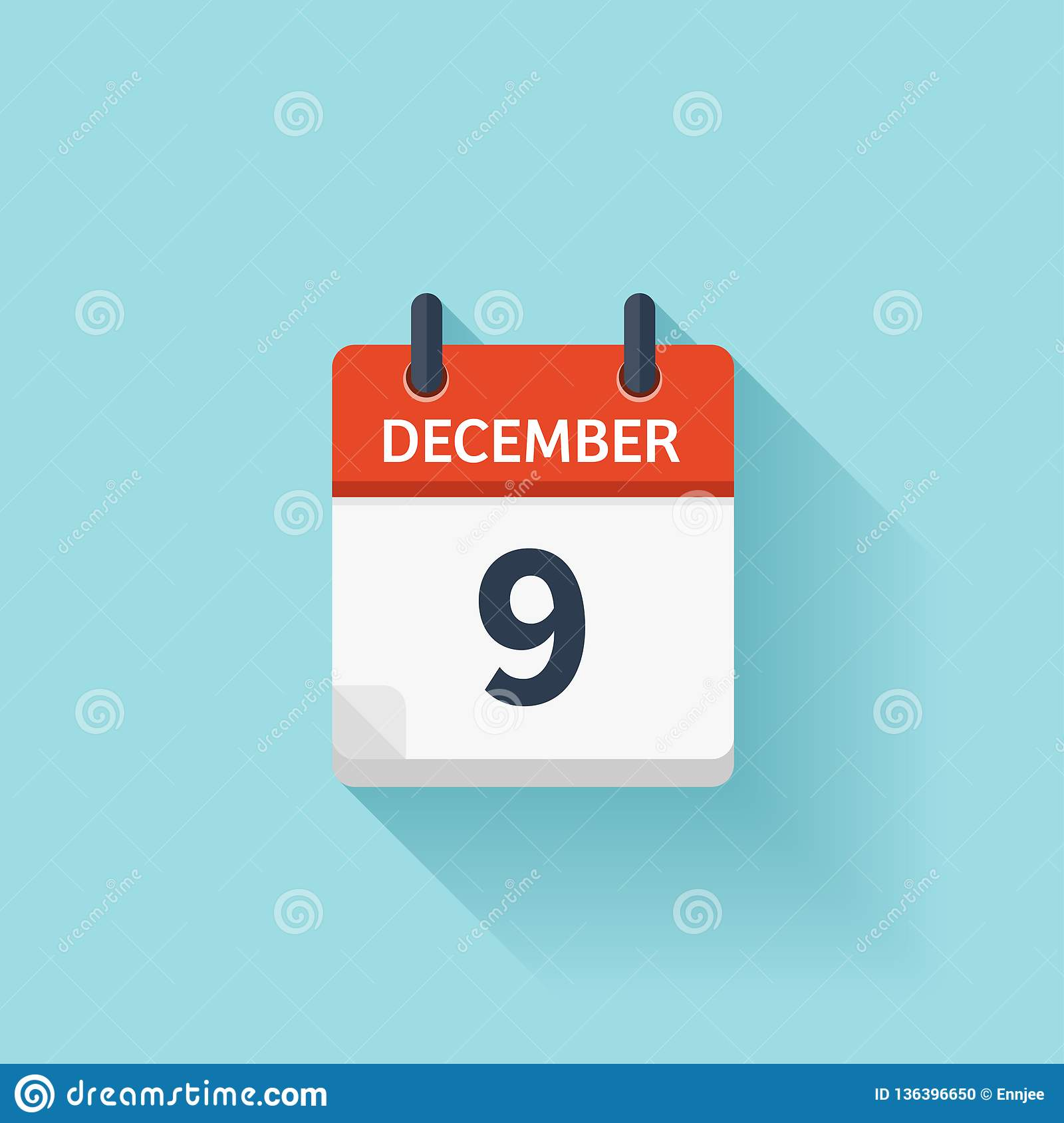 December 9 Vector Flat Daily Calendar Icon Date And Time Day