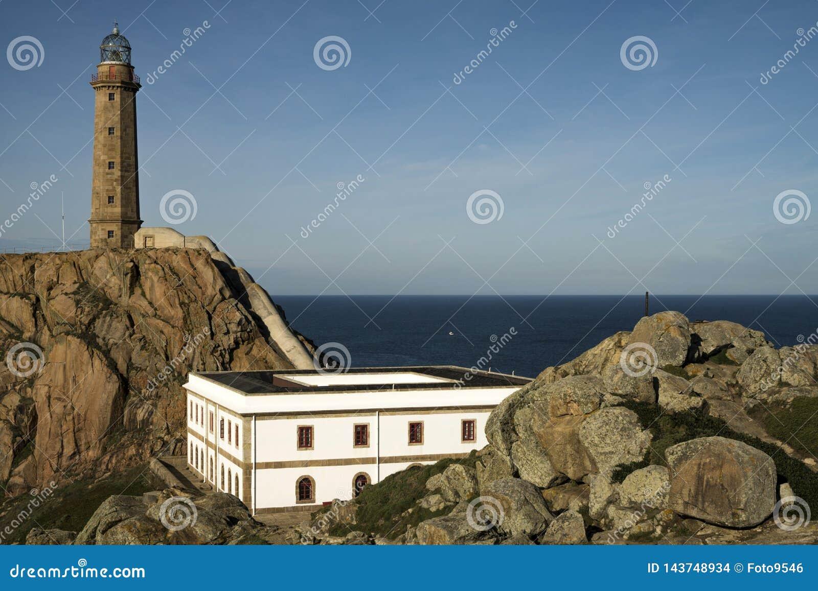 CAMARIÑAS, SPAIN - DECEMBER 17, 2016: view of the Vilán cape lighthouse in the Da Morte coast in Galicia, Spain
