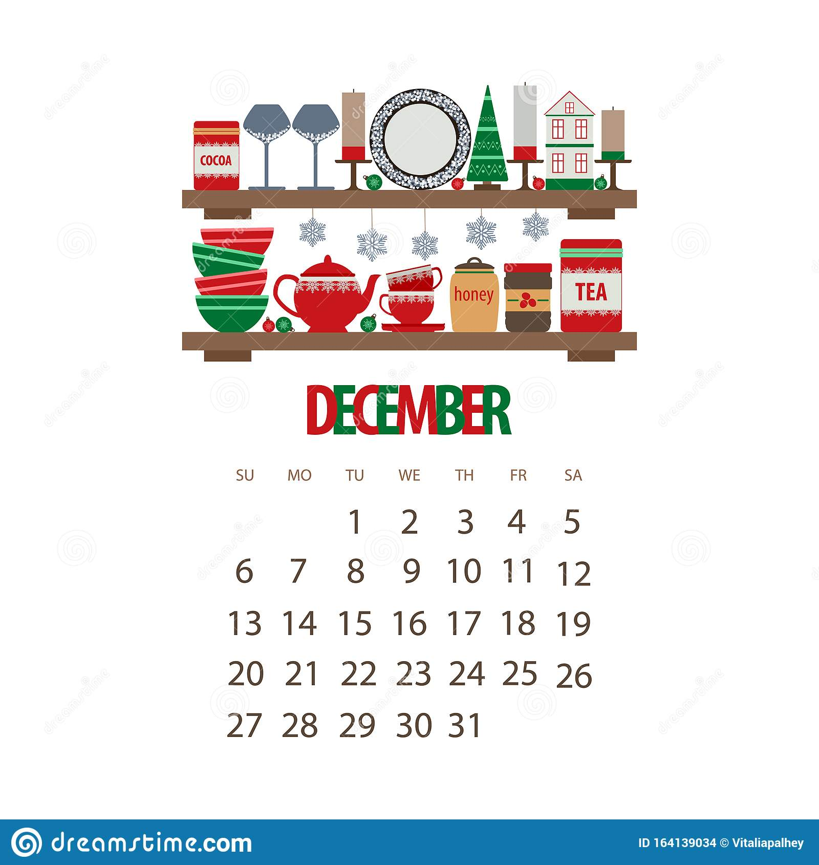 December Christmas Calendar 2020 December Winter Month 2020 Calendar, Kitchen Shelf With Utensils