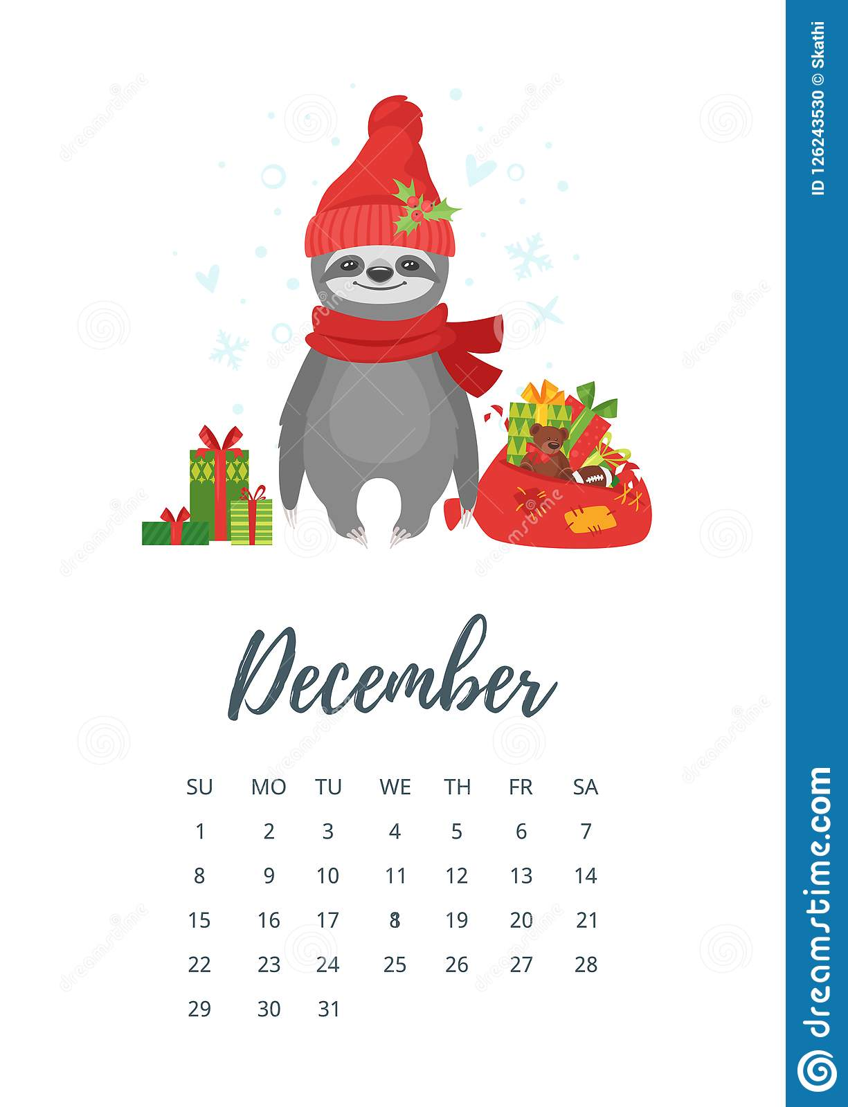 December Calendar 2019 Santa December 2019 Year Calendar Page Stock Vector   Illustration of