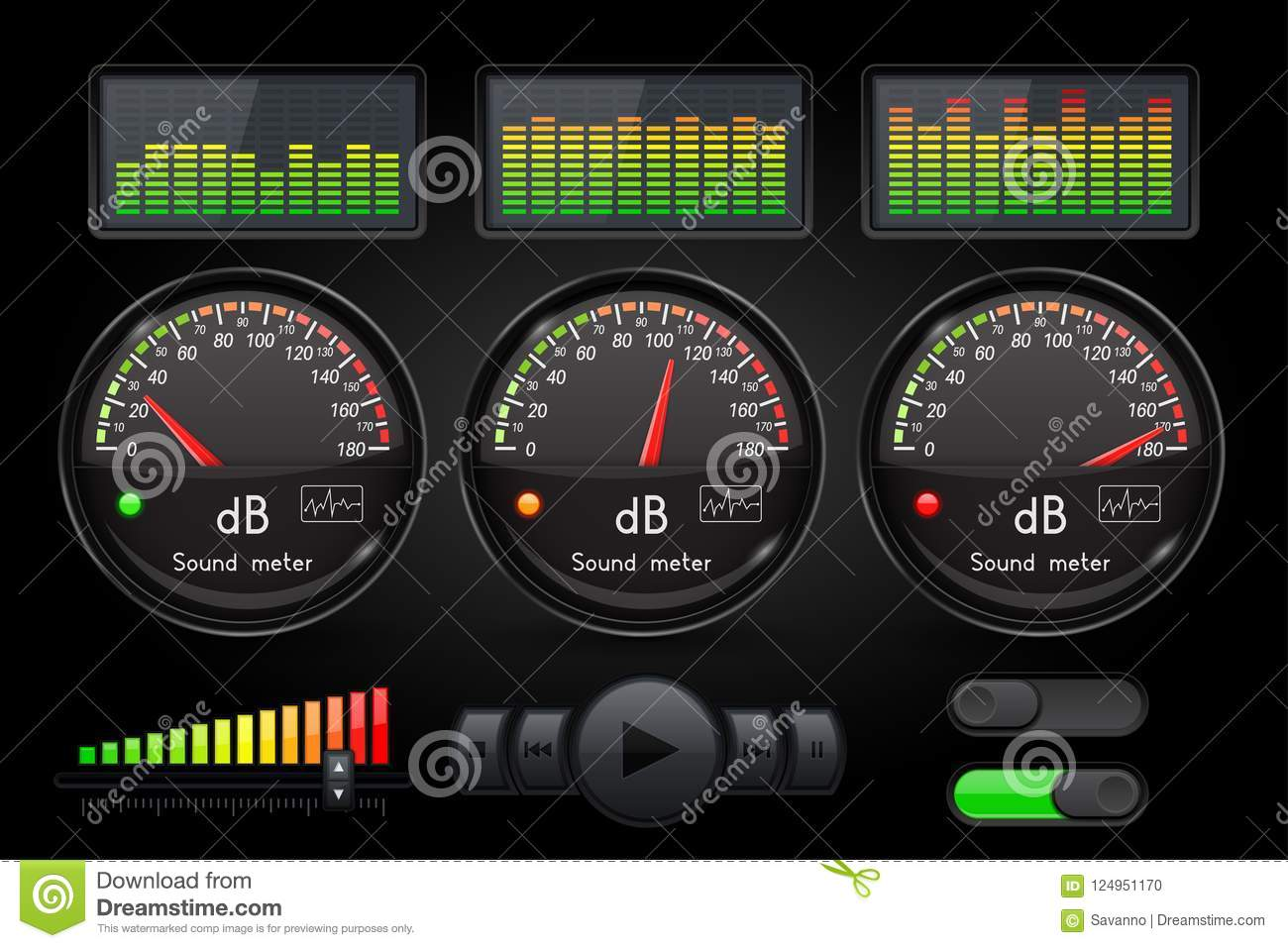 Decibel Sound Meter With Equalizer And Buttons  Black User Interface