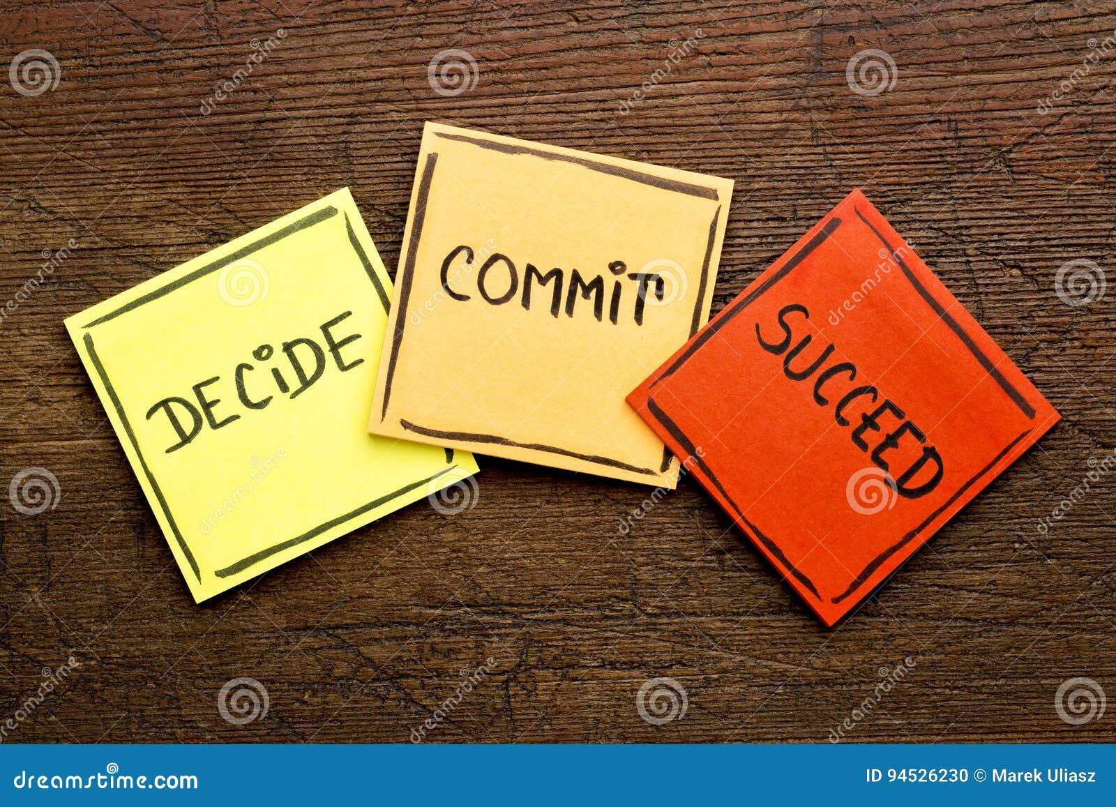 Decida, confíe, tenga éxito el extracto de la palabra