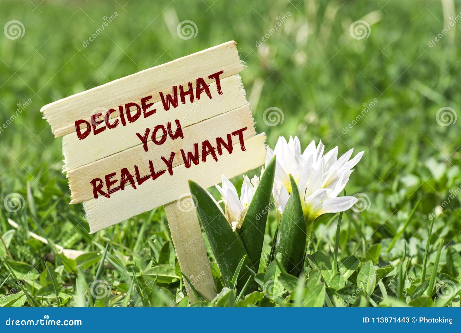 Decida lo que usted quiere realmente