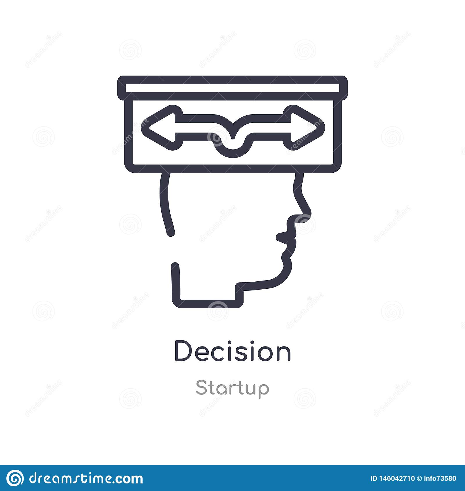 decision outline icon. isolated line vector illustration from startup collection. editable thin stroke decision icon on white