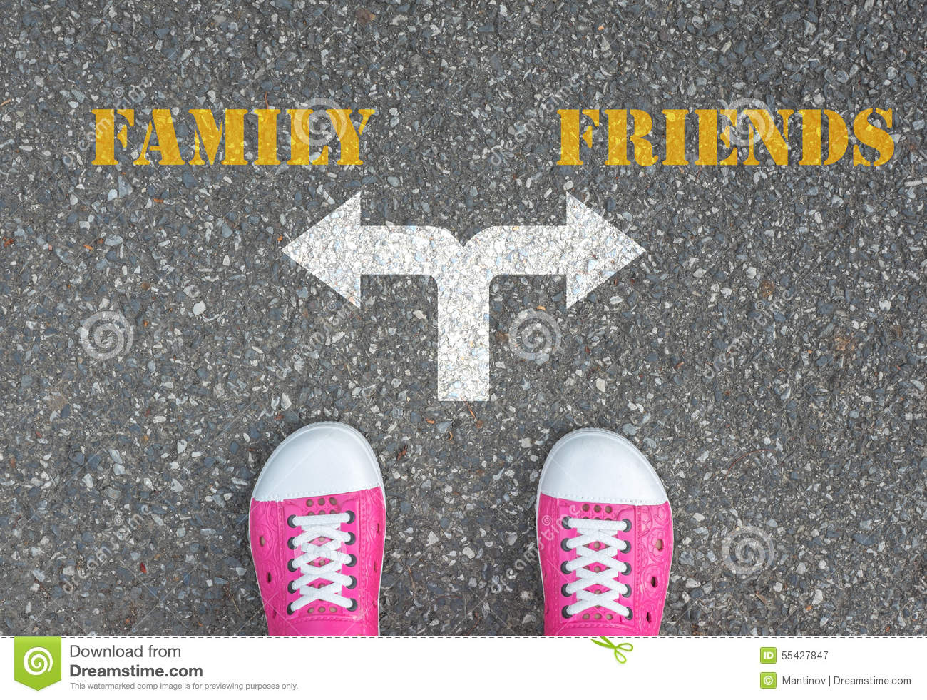 80c30367a4361e Decision To Make At The Crossroad - Family Or Friends Stock Image ...