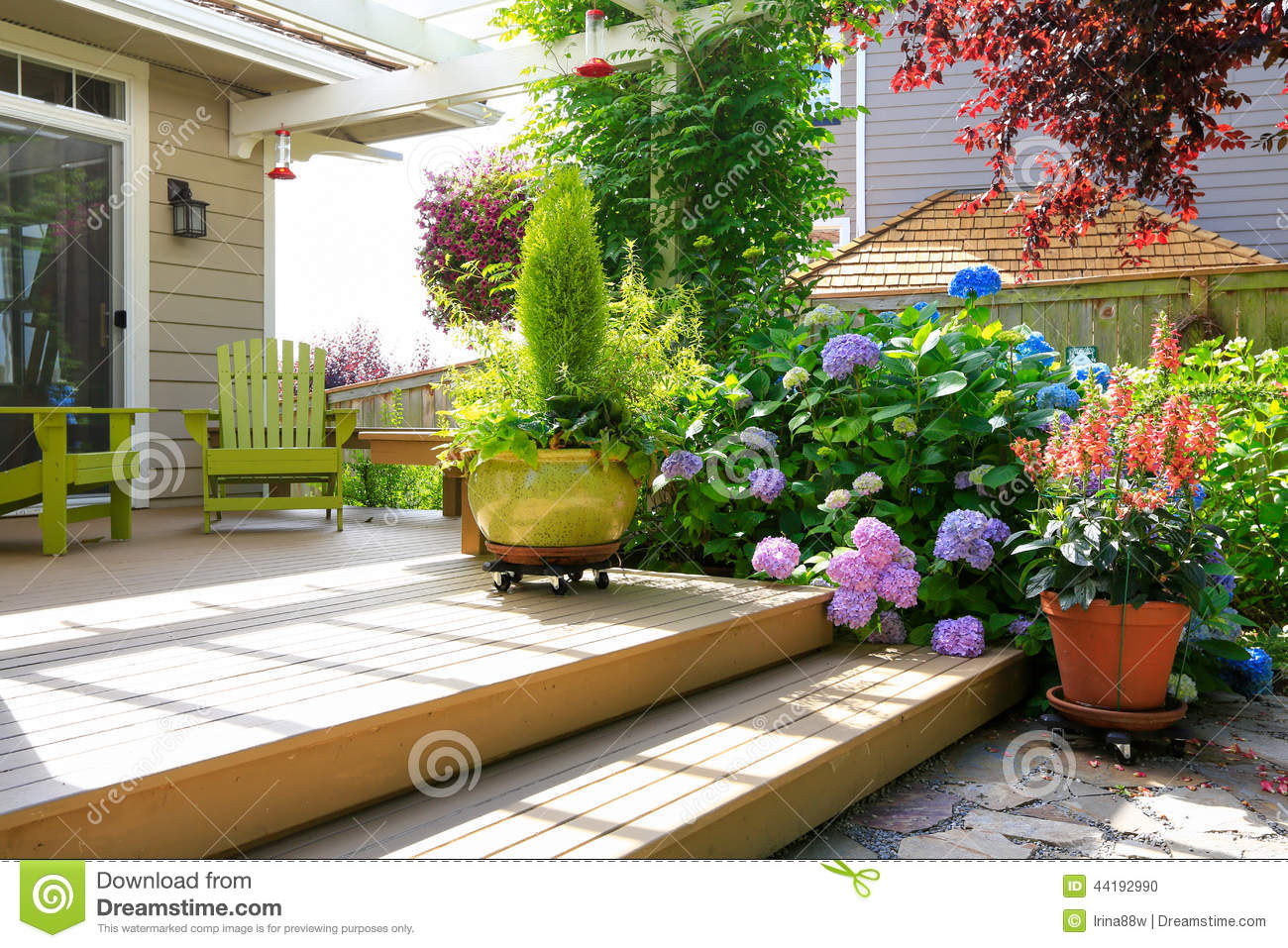 Deck With Beautiful Flowers In Pots Stock Photo Image