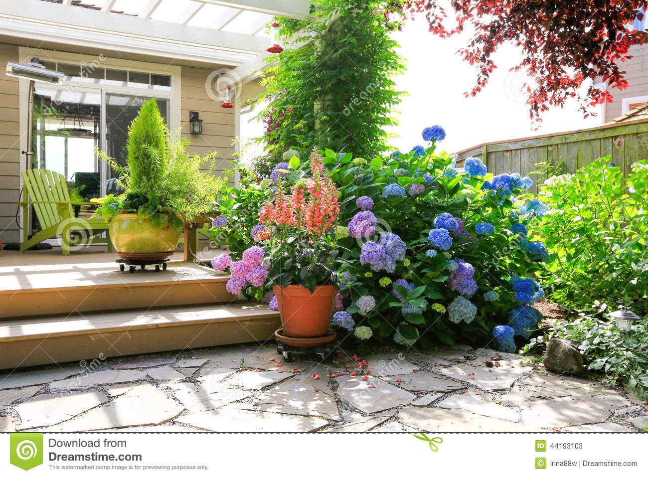 Deck With Beautiful Flowers In Pots Stock Image Image Of Style