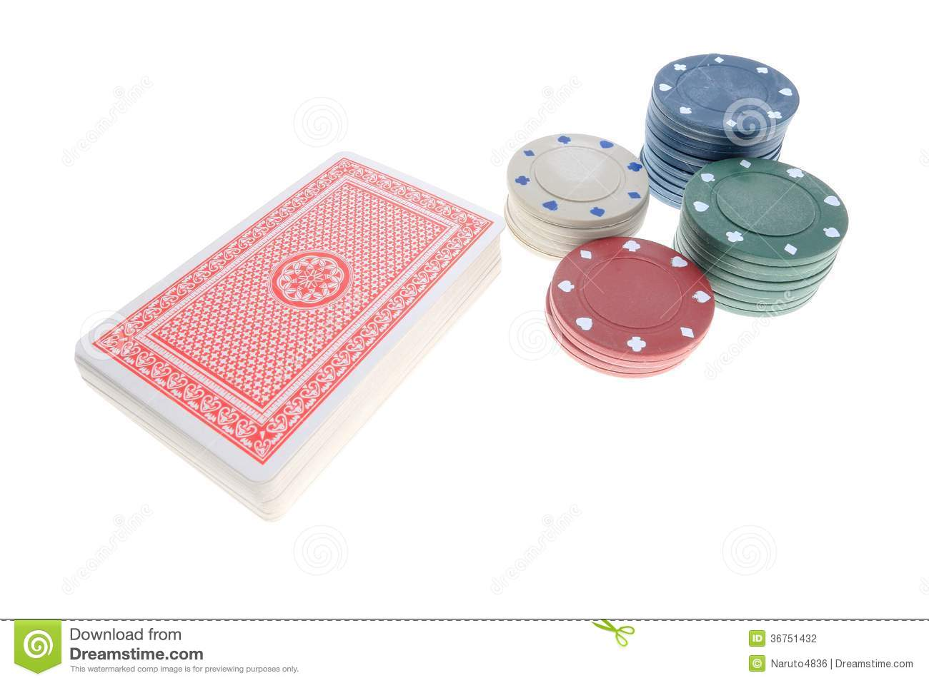 A deck of card and chips