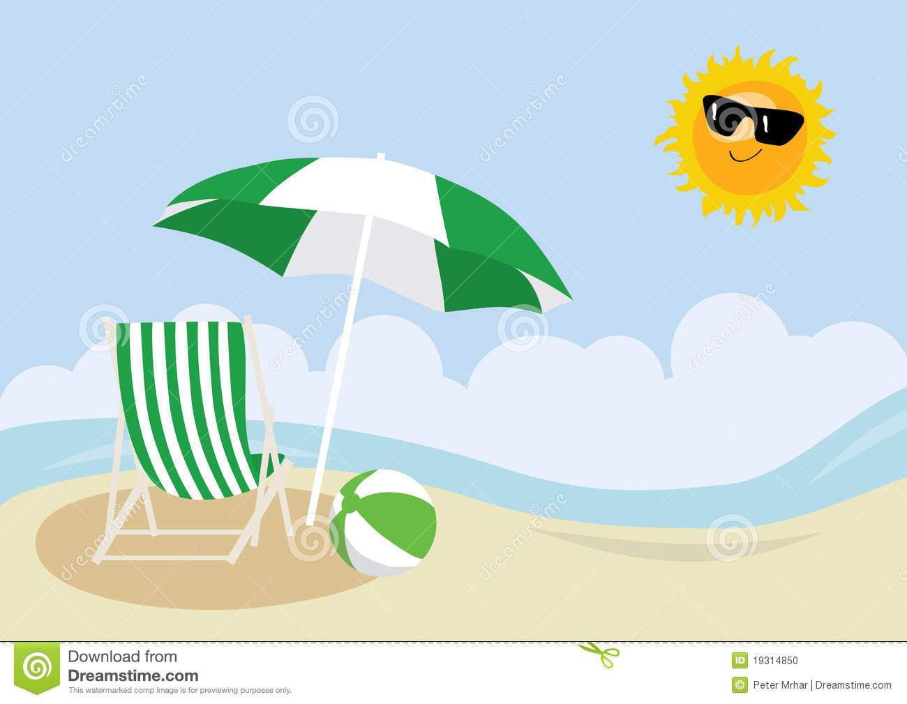 Beach chair and parasol vector illustration stock vector image - Deck Chair Beach Ball And Umbrella On A Beach Stock Photo