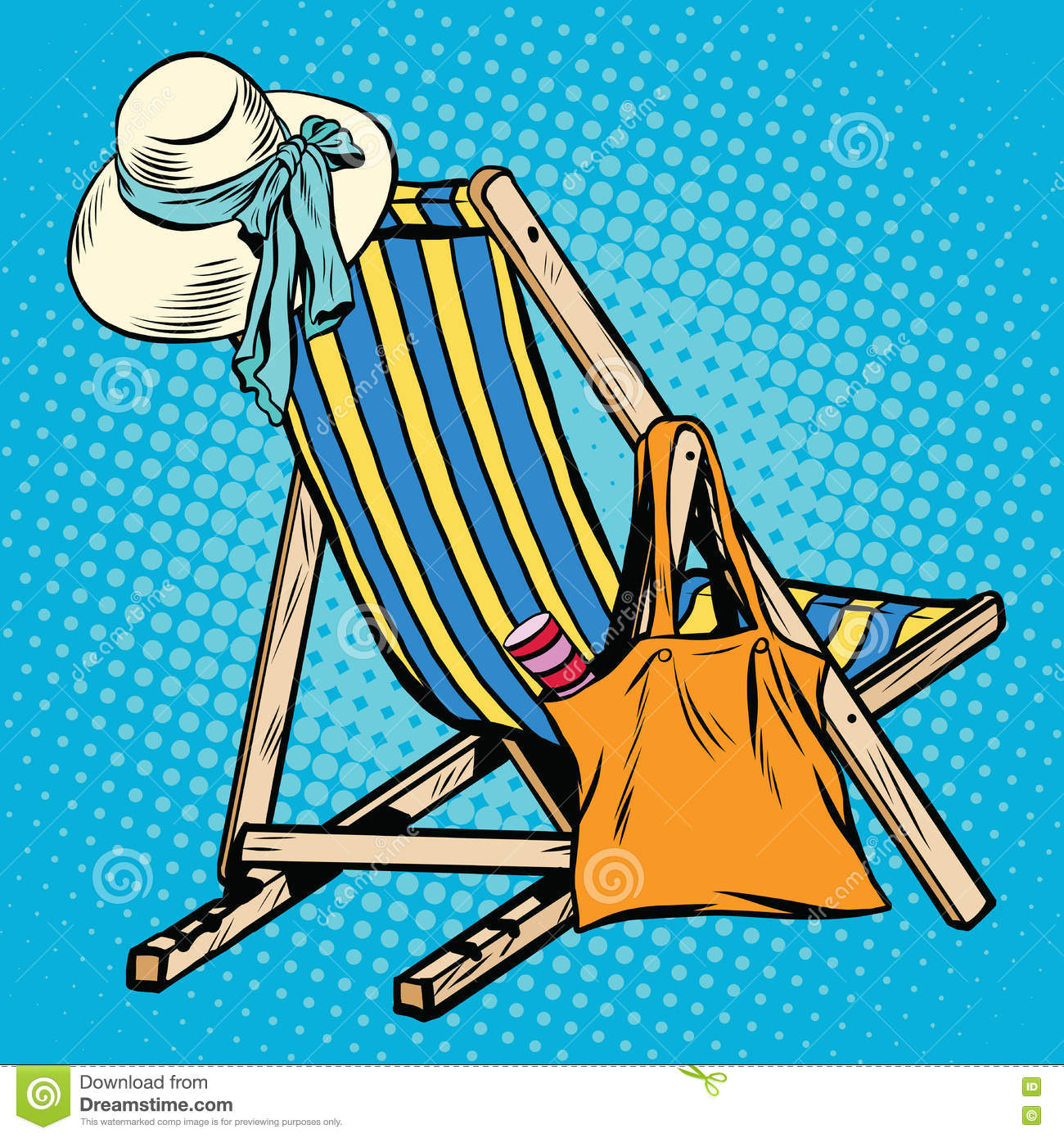 Deck Chair With Beach Things Women Stock Vector - Image ...
