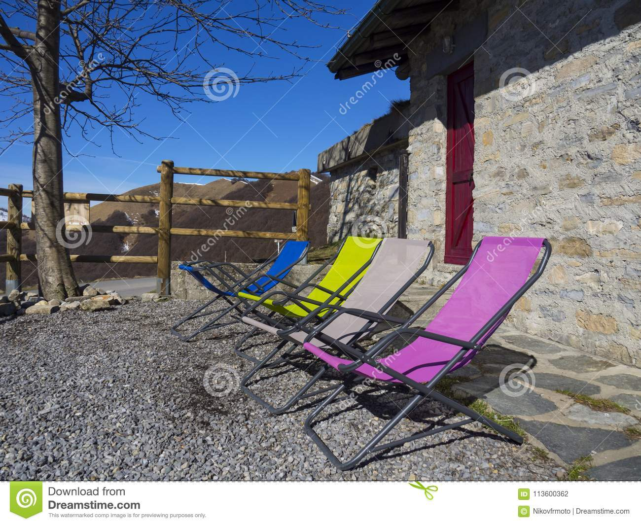 Download Colored Deck Chairs In The Alps Stock Photo   Image Of Color,  Equipment: