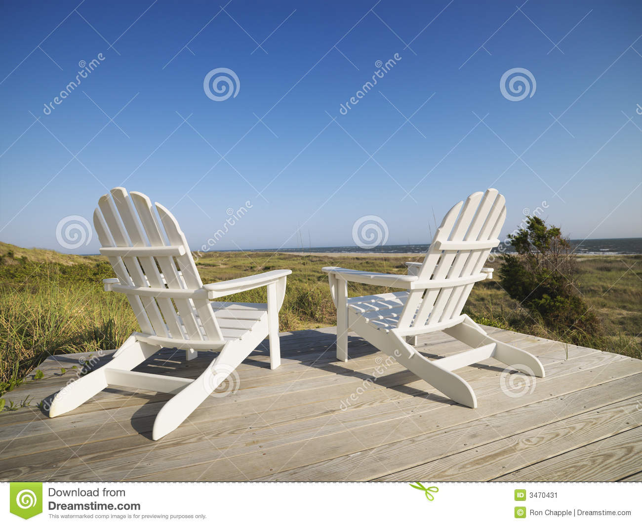 Deck chairs at beach. stock image. Image of adirondack ...