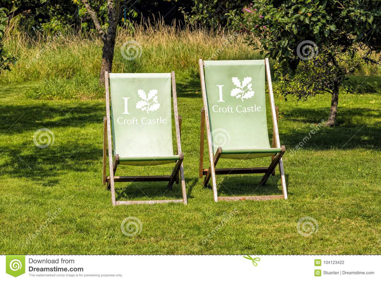 Deck Chairs At Croft Castle, Herefordshire, England. Editorial