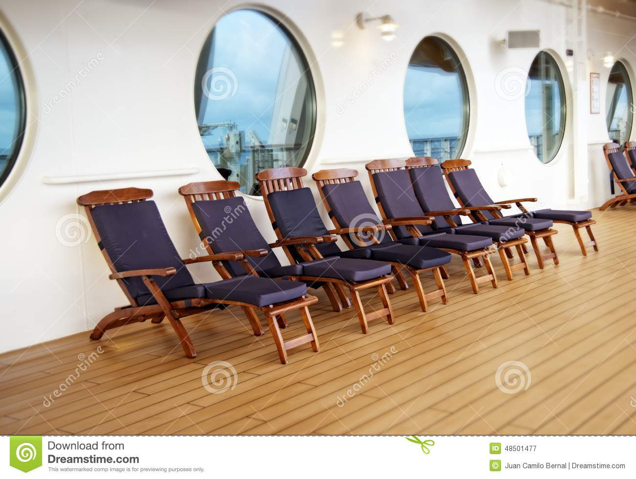 Deck Chairs A Cruise Ship Stock Image
