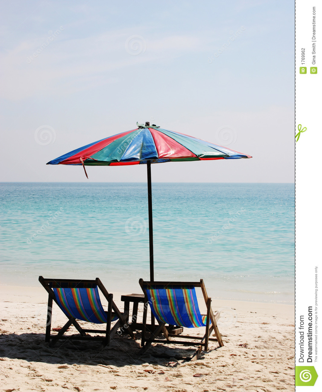 Deck Chairs On A White Sandy Beach Stock Photography - Image: 1769962