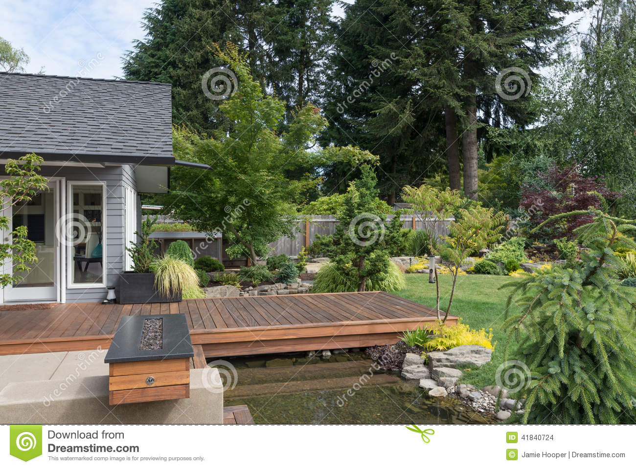 Deck over the stream stock photo image 41840724 for Pnw homes