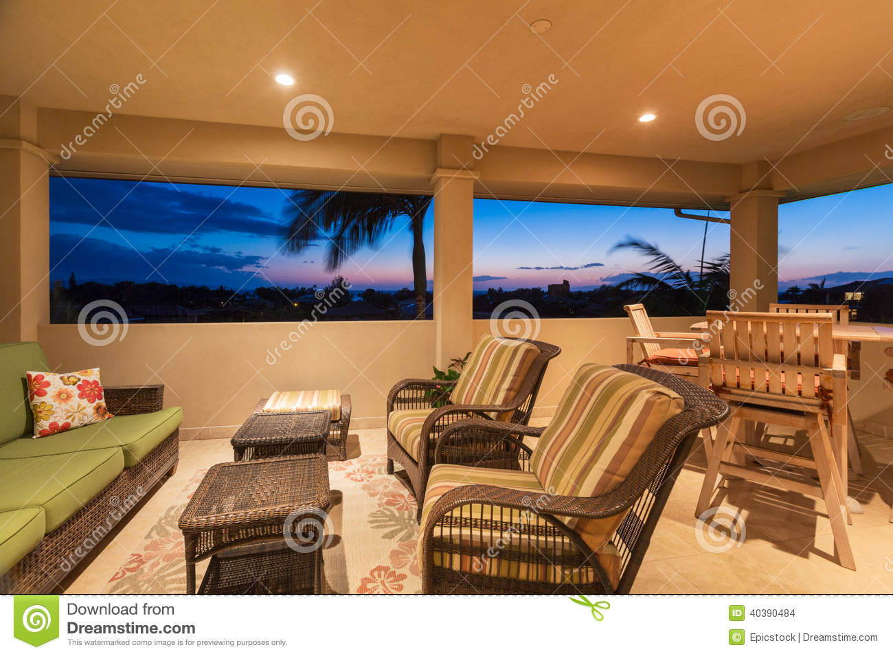 Rc Furniture Interior Design Stock Dealer ~ Deck and patio furniture at sunset stock photography