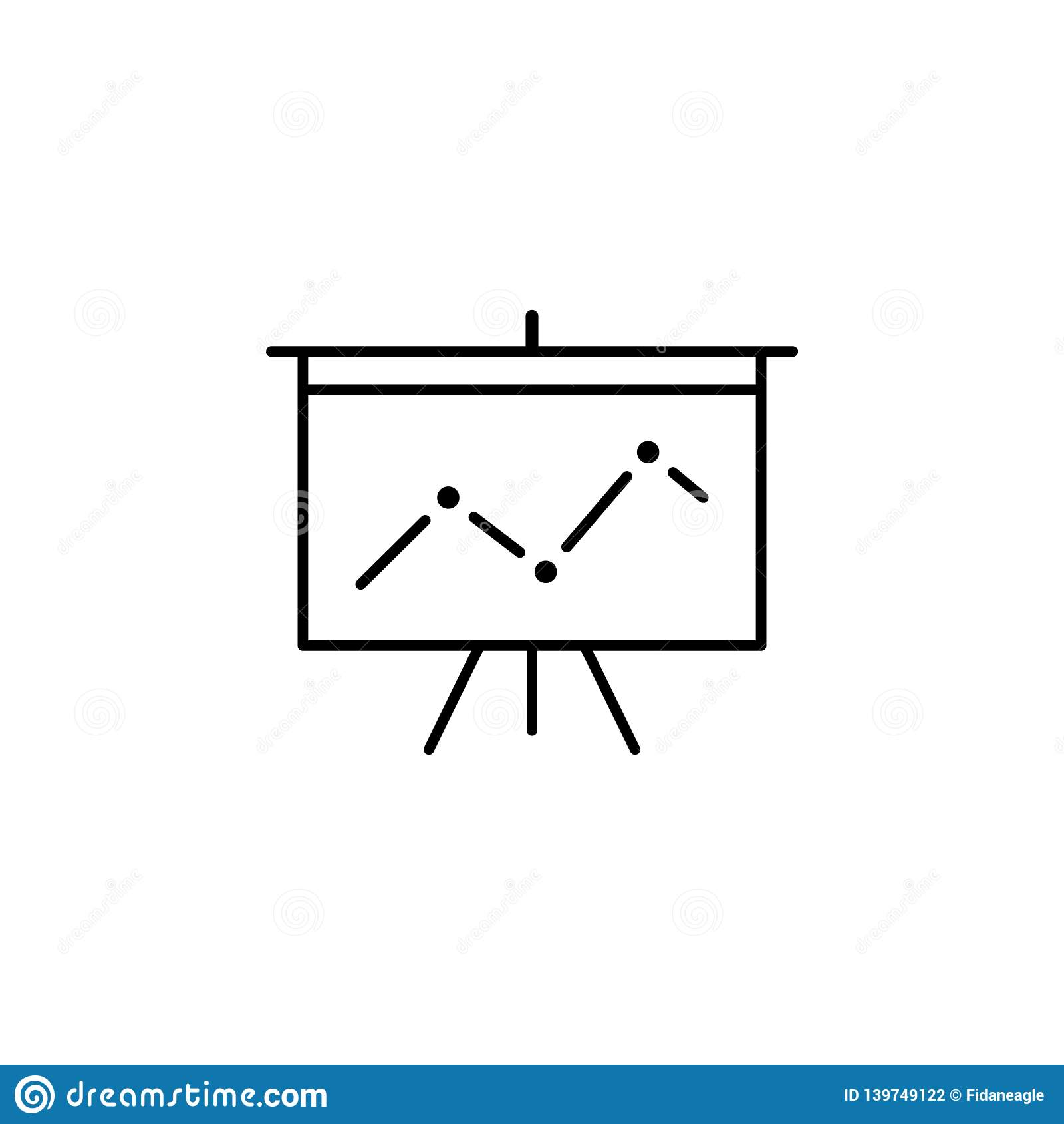 Deck presentation statistics outline icon. Signs and symbols can be used for web, logo, mobile app, UI, UX