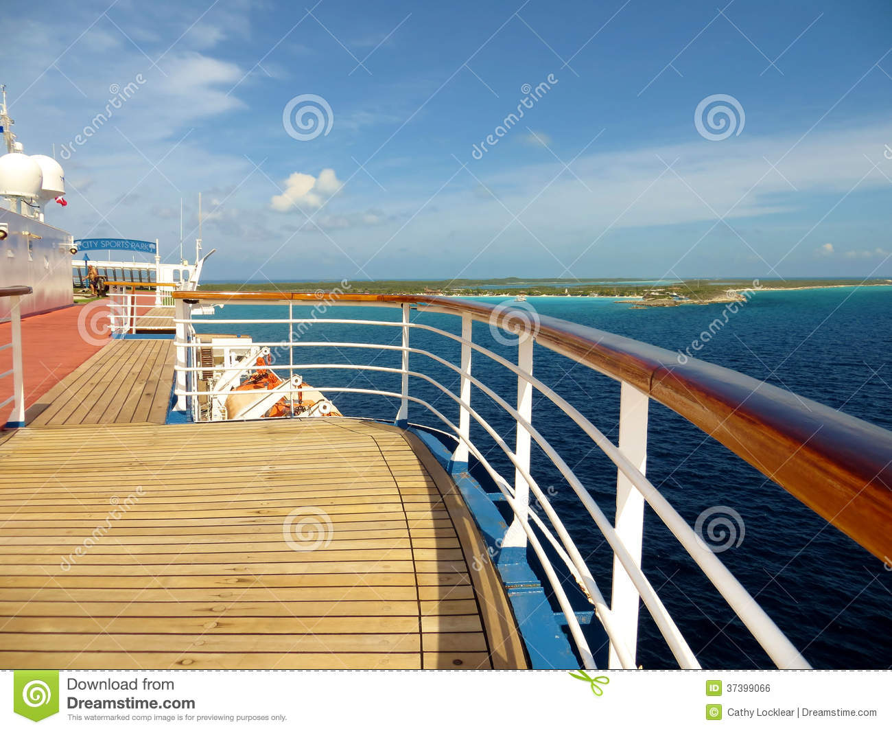 Deck And Rail On A Cruise Ship Royalty Free Stock Image