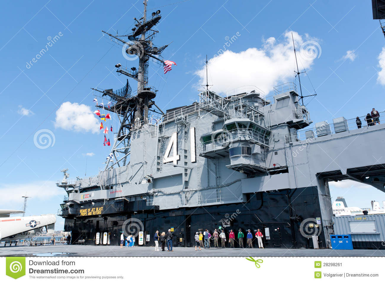Deck And Tower Of The Aircraft Carrier Midway As A Museum ...