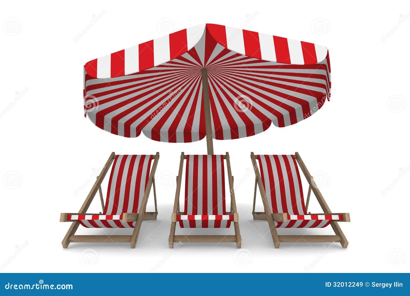 Sonnenschirm clipart gratis  Deckchair Drei Und Sonnenschirm Auf Weißem Hintergrund Stock ...