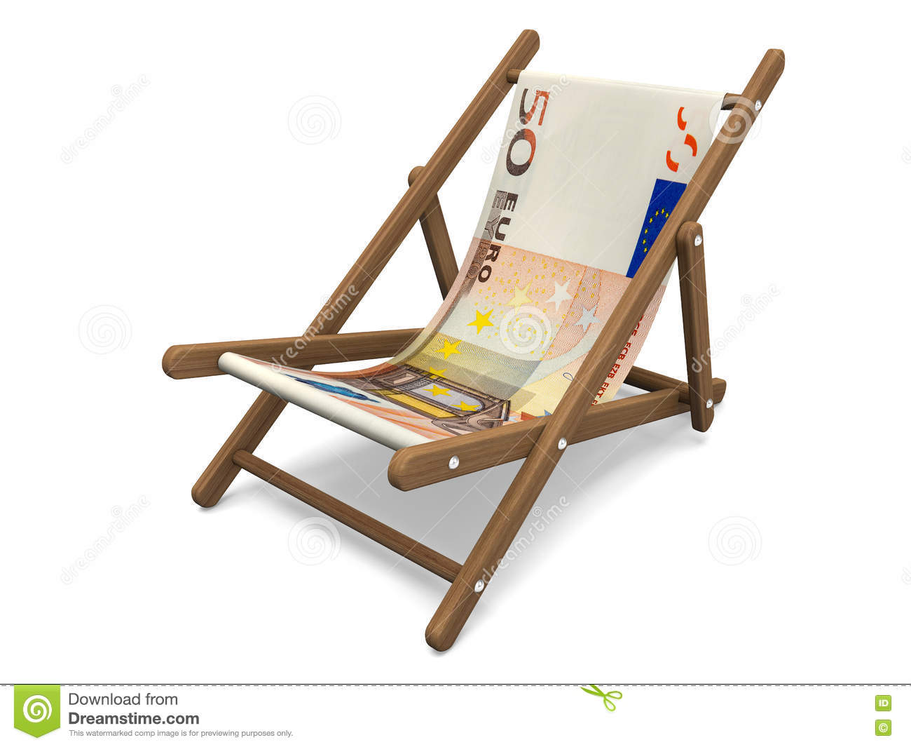 deckchair with the euro banknote stock illustration 77660686. Black Bedroom Furniture Sets. Home Design Ideas