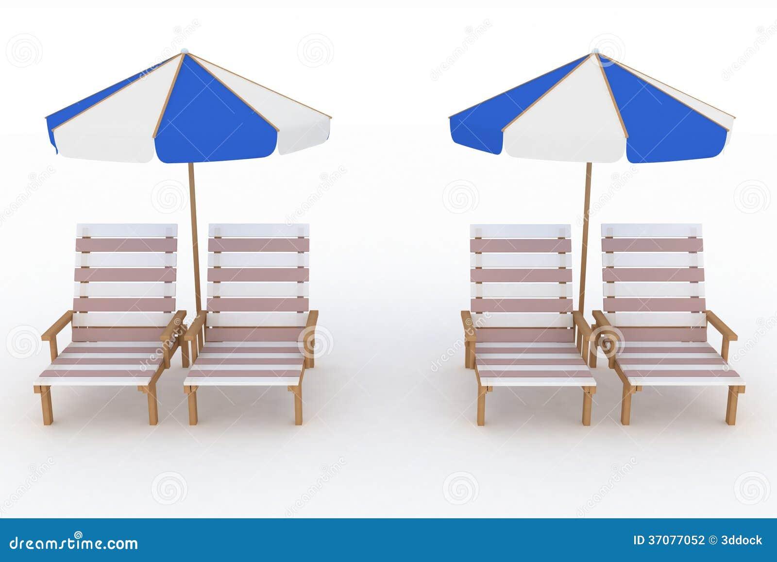 Download Deckchair I Parasol Na Białym Tle Ilustracji - Ilustracja złożonej z leisure, kurort: 37077052